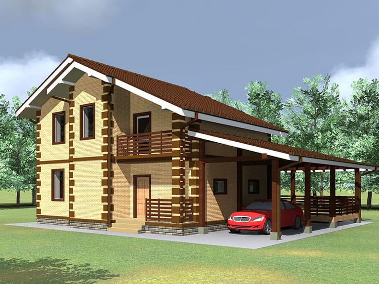 Проект дома с террасой и навесом